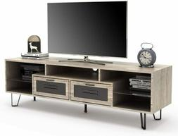 60'' TV Stand Cabinet with 2 Drawers & Glass Shelf Living Ro