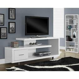 """60"""" White TV Stand Entertainment Console Contemporary Modern"""