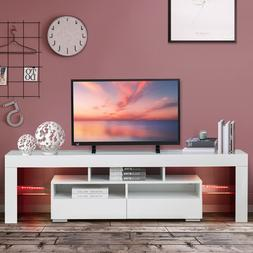 63'' High Gloss LED Light TV Stand Unit Console Cabinet With