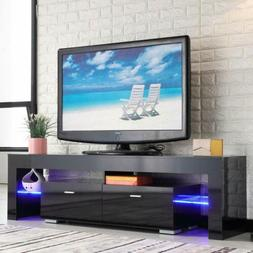 "63"" High Gloss TV Stand Unit Cabinet & LED Shelves 2 Drawer"