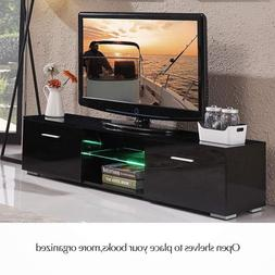 "63"" TV Stand High Gloss Unit Cabinet with LED Light Shelves"