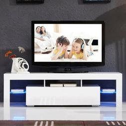 "63"" TV Stand High Gloss White Cabinet Console Furniture w/LE"