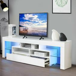 "63"" TV Stand Unit Cabinet with LED Shelves 2 Drawer Console"