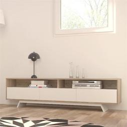 """Atlin Designs 68"""" TV Stand in Oak and White"""