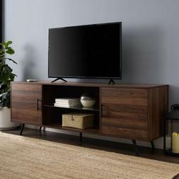 70 in. Dark Walnut Mid-Century Modern 2-Door Console TV Stan