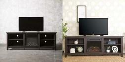 """WE Furniture 70"""" Espresso Wood Fireplace Modern TV Stand Con"""