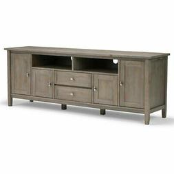 Simpli Home AXWSH003-72-GR Warm Shaker Solid Wood 72 inch TV