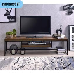 """80"""" Flat TV Stand Rustic Industrial Media Storage Console Wo"""