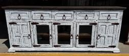 80 in White Distress Finish Rustic Tv Stand High Solid Wood