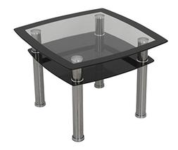 AVF T22-A Black Glass & Chrome Side Table /  Lamp Table / En