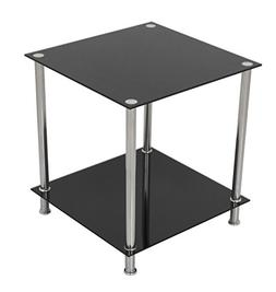 AVF T52-A Black Glass & Chrome Two Tier Square Side Table/La