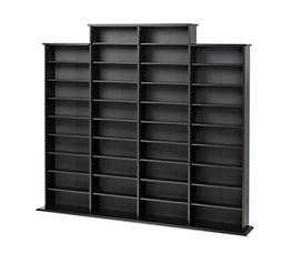 Prepac Quad Width Wall  Storage Cabinet, Black