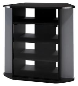 Bush Furniture Visions Tall Corner TV Stand in Black and Met
