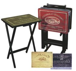 Cape Craftsman TV Tray Set with Stand, Wine Label, Set of 4