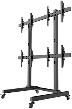 Displays2go FW4255BKX4 Rolling TV Stand, 4-Panel HDTV Mount,