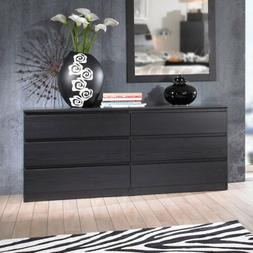 "Double 6 Drawer Dresser Black Wood 60"" Wide Bedroom Furnitur"