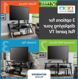 Flat TV Stand Three Display Options Glass Shelves Storage Ti