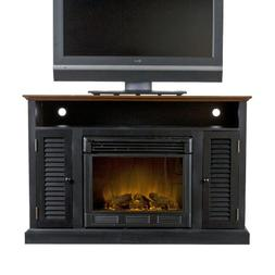 """Fox 48"""" TV Stand with Electric Fireplace Finish: Black/Walnu"""