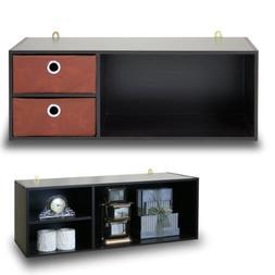 Furinno 10005EX/BR Wall-mounted Storage Shelf with 2 Bin Dra