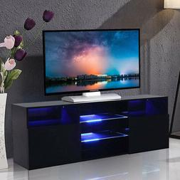 High Gloss Balck 57'' TV Stand Unit Cabinet with LED Light 2