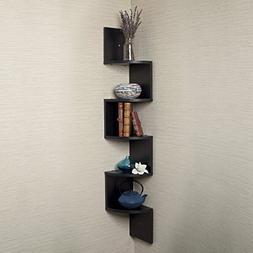 Houseables Corner Wall Book Shelf, 5 Tier, Black, Floating S