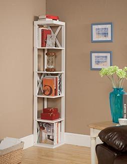 Kings Brand Furniture Wood Wall Corner 5 Tier Bookshelf Disp