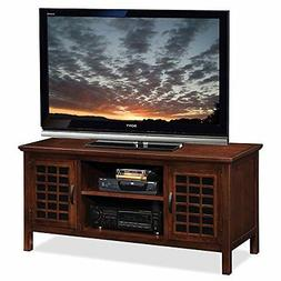 Leick 50-Inch Wide TV Stand with Black Glass, Chocolate Cher