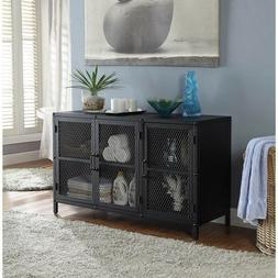 Modern Industrial TV Stand Rustic Metal Narrow Slim Console