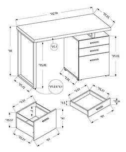 "Monarch Left Or Right Facing Computer Desk, 48"", Grey"