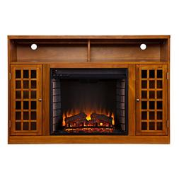 Narita Media Console with Electric Fireplace - Glazed Pine -