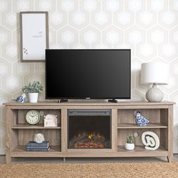 New 70 Inch Wide Fireplace Television Stand in Driftwood Fin