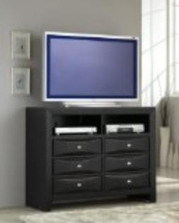 Roundhill Furniture Blemerey Fully Assembled TV Chest, Black