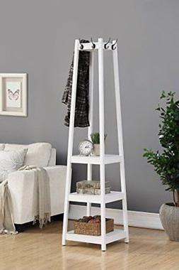 Roundhill Furniture Vassen Coat Rack with 3-Tier Storage She