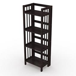 Stony-Edge Folding Bookcase, Easy Assembly Bookshelf for Hom