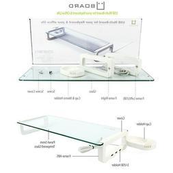 UBOARD SMART - Tempered Glass Monitor Stand Shelf USB Multib