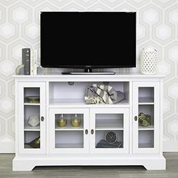 """WE Furniture 52"""" Highboy Style Wood TV Stand Console, White"""