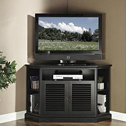 "WE Furniture 52"" Wood Corner TV Stand Console, Black"