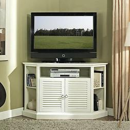 "WE Furniture 52"" Wood Corner TV Stand Console, White"