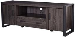 """WE Furniture 60"""" Industrial Wood TV Stand Console, Charcoal"""