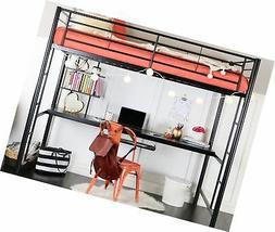 WE Furniture Full Metal Loft Bed with Workstation - Black