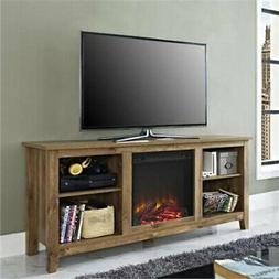 "Walker Edison W58FP18BW Fireplace TV Stand, Barnwood, 58"""