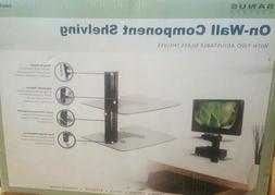 MOUNT ON WALL COMPONENT SHELVING 2 GLASS SHELF TV STAND HANG