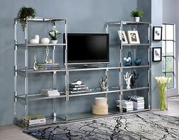 Acme Raegan TV Stand in Clear Acrylic and Chrome Finish 9124