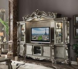 Acme Versailles Entertainment Center in Antique Platinum Fin