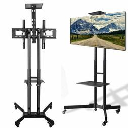 Adjustable Mobile TV Stand Cart Mount Wheels for LED LCD Fla