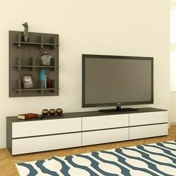 Nexera Allure TV Stand, Bookcase Wall Panel and Storage