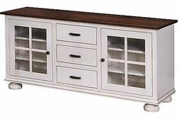 Amish TV Console Stand Cottage Solid Wood Glass Doors White