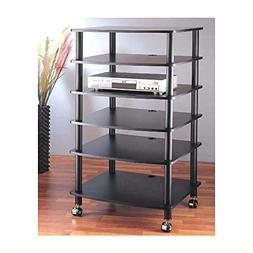 VTI AR406 6 Shelf Black Audio Rack - Black/Black