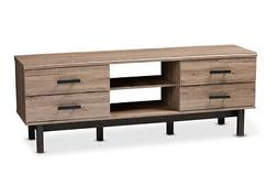 Baxton Studio Arend Two-Tone Oak and Ebony Wood 4-Drawer TV
