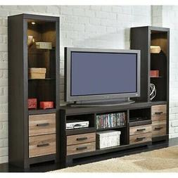 """Ashley Harlinton 63"""" TV Stand with Tall Piers in Warm Gray"""